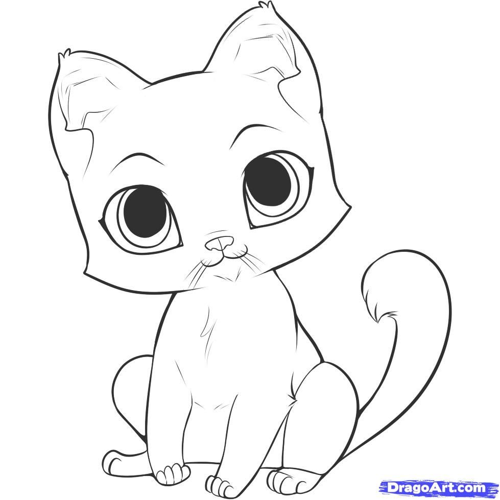 How To Draw An Easy Kitten Step By Step Pets Animals Free Online Drawing Tutorial Added By Dawn Septem Kitten Drawing Cute Cat Drawing Cute Easy Drawings