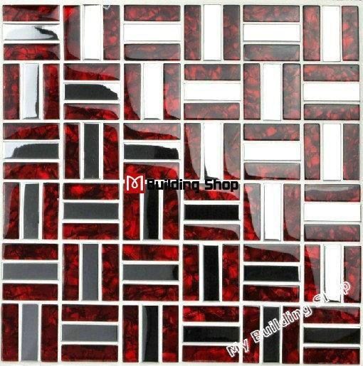 Red Glass Mosaic Stainless Steel Tile Backsplash Ssmts021 Silver Metal Mosaic Glass Tile Bathroom Wall Stainless Steel Tile Red Backsplash Stainless Backsplash
