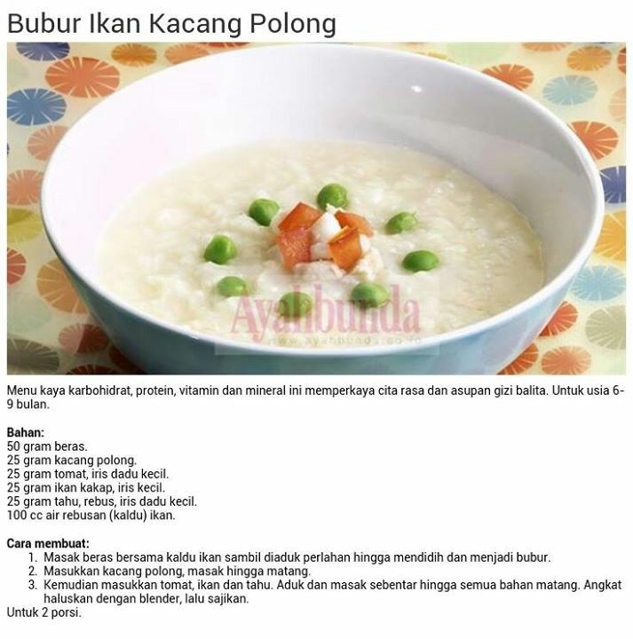 Bubur Ikan Kacang Polong Resep Makanan Bayi Makanan Bayi Makanan