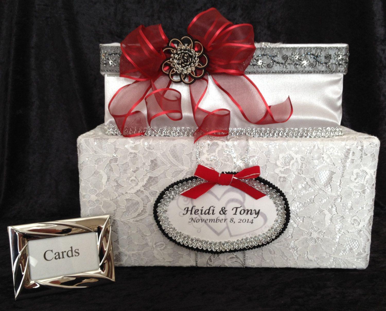 Wedding card box,silver card box,red wedding dress,wedding ...