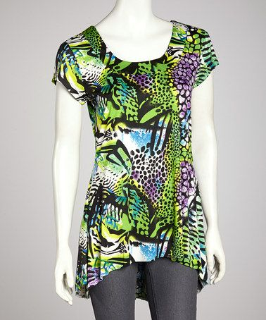 Take a look at this Green & Purple Abstract Tropical Short-Sleeve Tunic - Women by Tango Mango on #zulily today! $10 !!