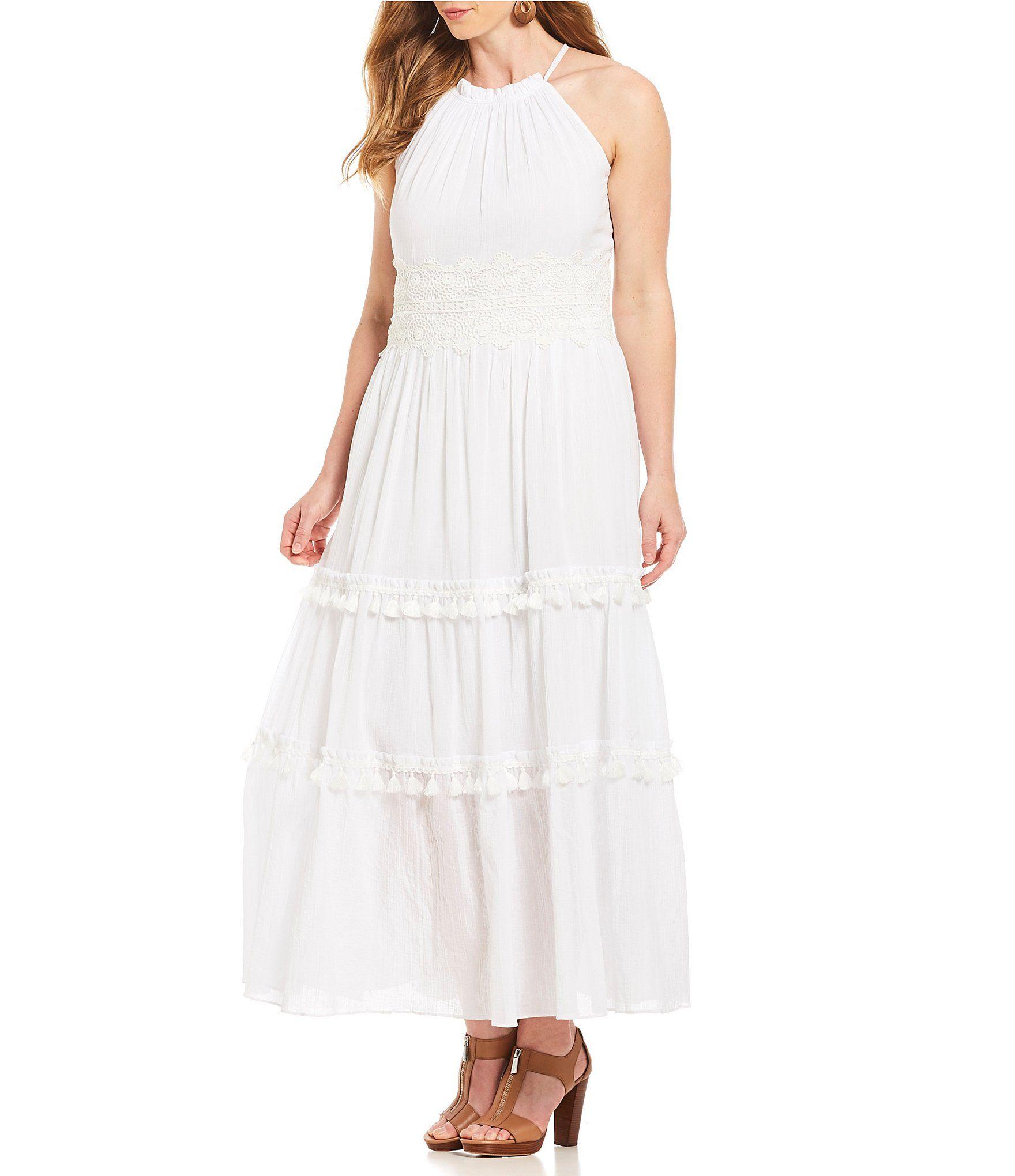 Shop for Eliza J Plus Size Lace Waist Halter Maxi Dress at Dillards ...