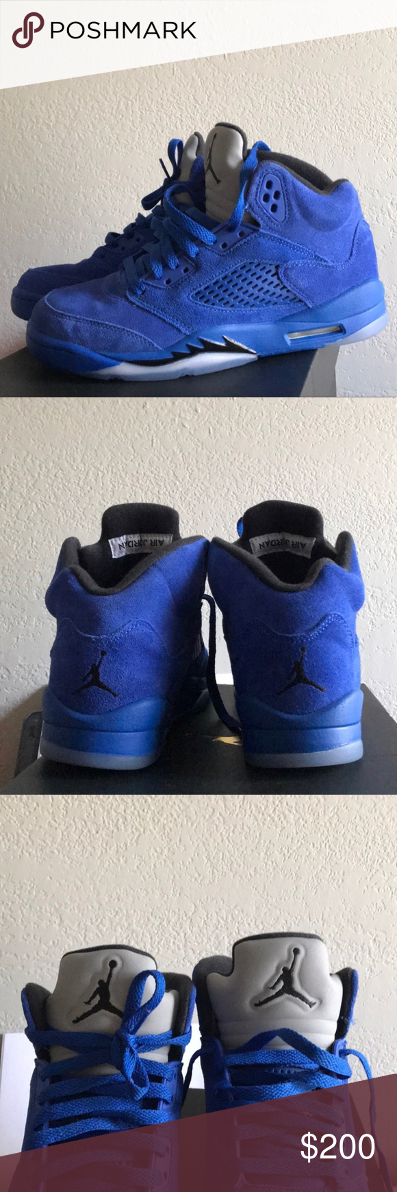 29beb54917ce40 NIKE AIR JORDAN 5 RETRO BLUE SUEDE GAME ROYAL SHOE Comes with box. Shoes are