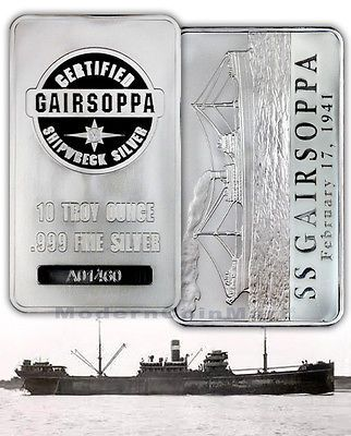 S S Gairsoppa Shipwreck Silver 10 Troy Oz 999 Silver Bar W Coa Ver 2 Sku30657 List Price 319 00 Price 242 95 You Save Silver Bullion Silver Bars Silver