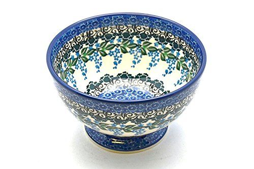 Polish Pottery Bowl - Pedestal - Small - Wisteria -- Insider's special offer that you can't miss : Bakeware