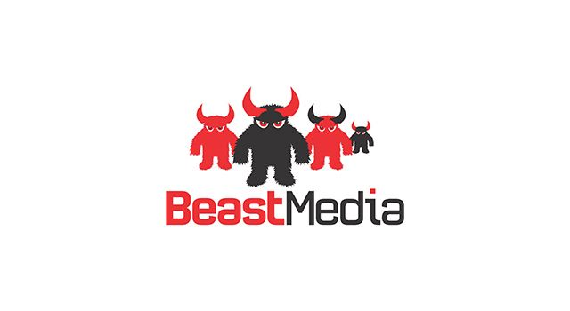 Beast Media logo design  Logo design for a full service media company focused on online advertising  Images show the final logo in use and 2 work-in-progress concepts.  Connecticut, USA