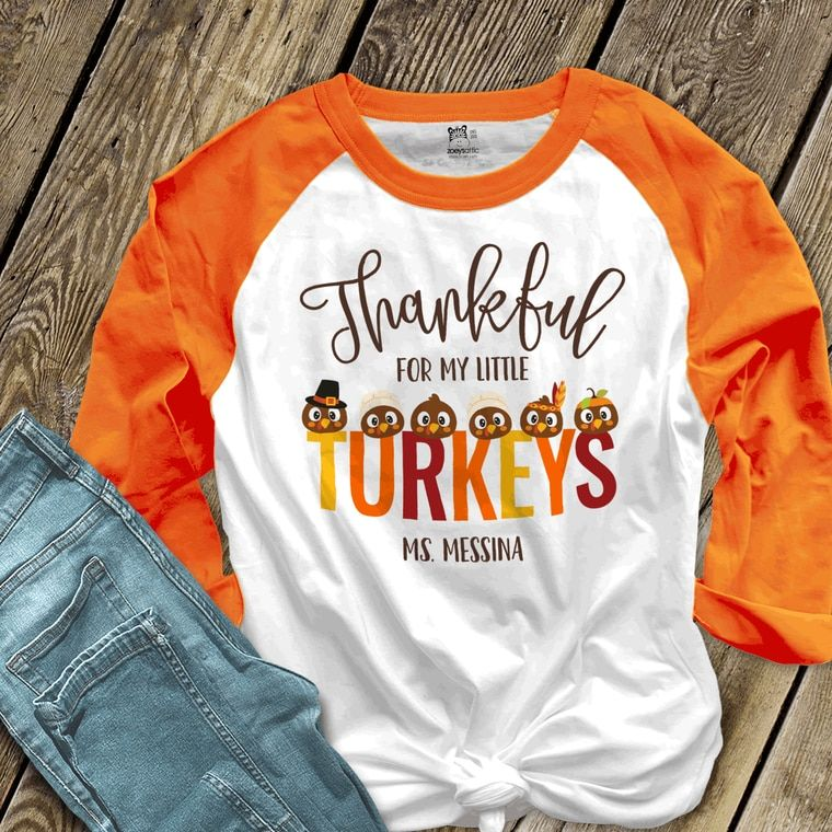 Thanksgiving Raglan Teacher Turkey Shirt Thankful Teacher Teacher Fall Shirt Womens Fall Shirt Fall Shirt Teacher Thanksgiving Shirt