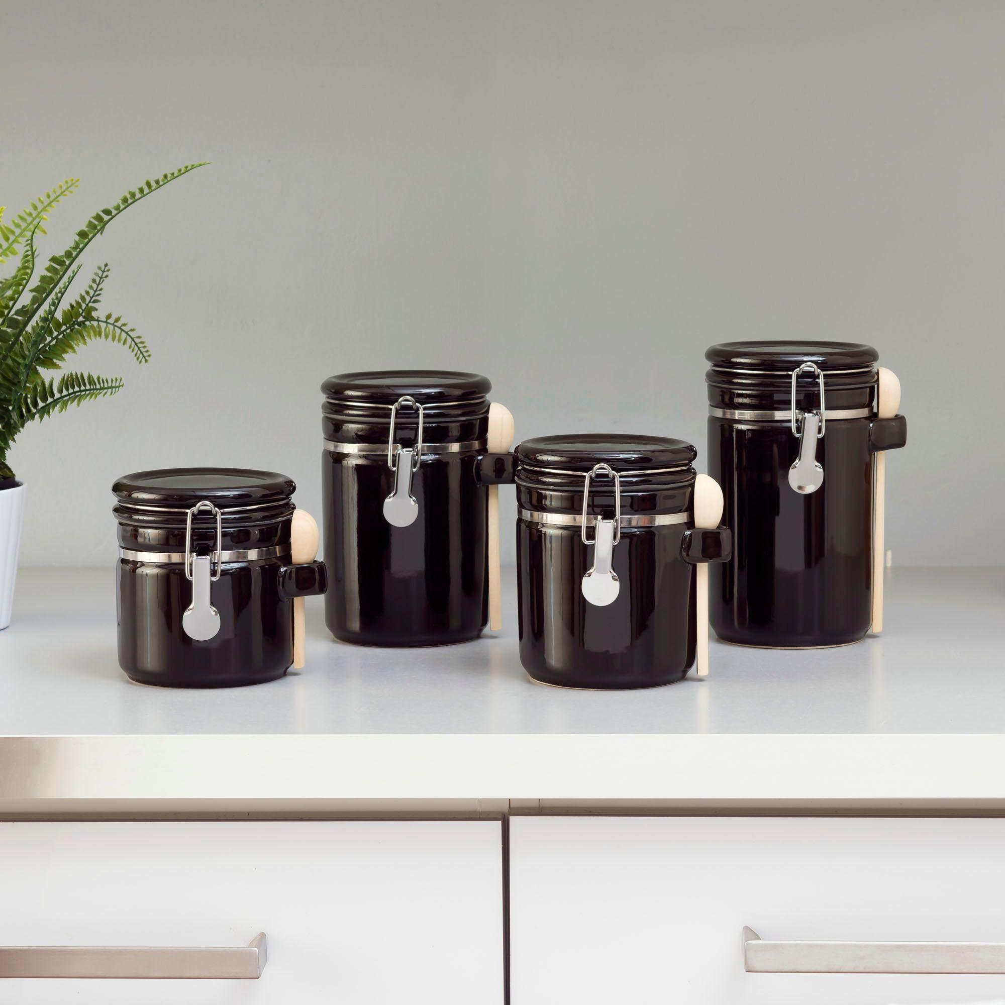Black Ceramic Kitchen Canister Food Storage Jar Set Sugar Coffee Tea Flour Spoon Kitchen Canister Sets Ceramic Canister Set Kitchen Canisters
