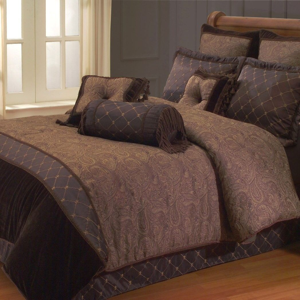 Brown bedding sets queen - Kathy Ireland Estate Classic Chocolate Brown Comforter Set