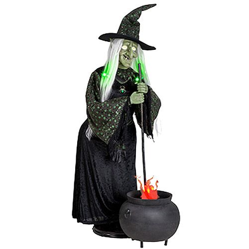5 39 tall life size animated halloween witch with misting for Animated halloween decoration