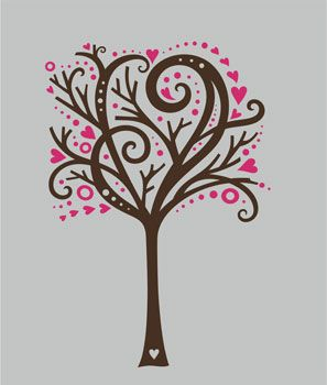 i love this tree decal!! minus the pink hearts..