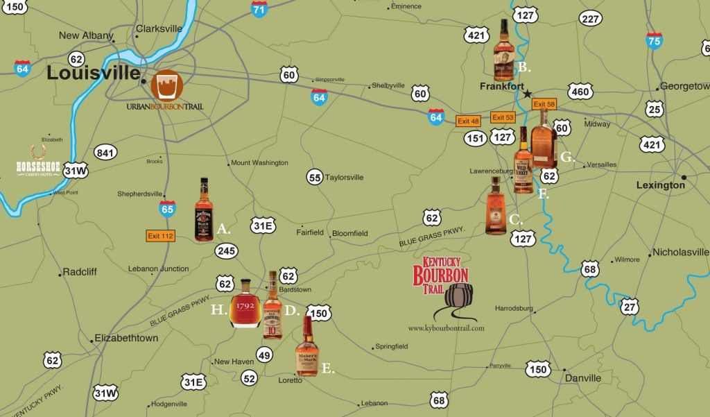 bourbon trail driving map Bourbon Country