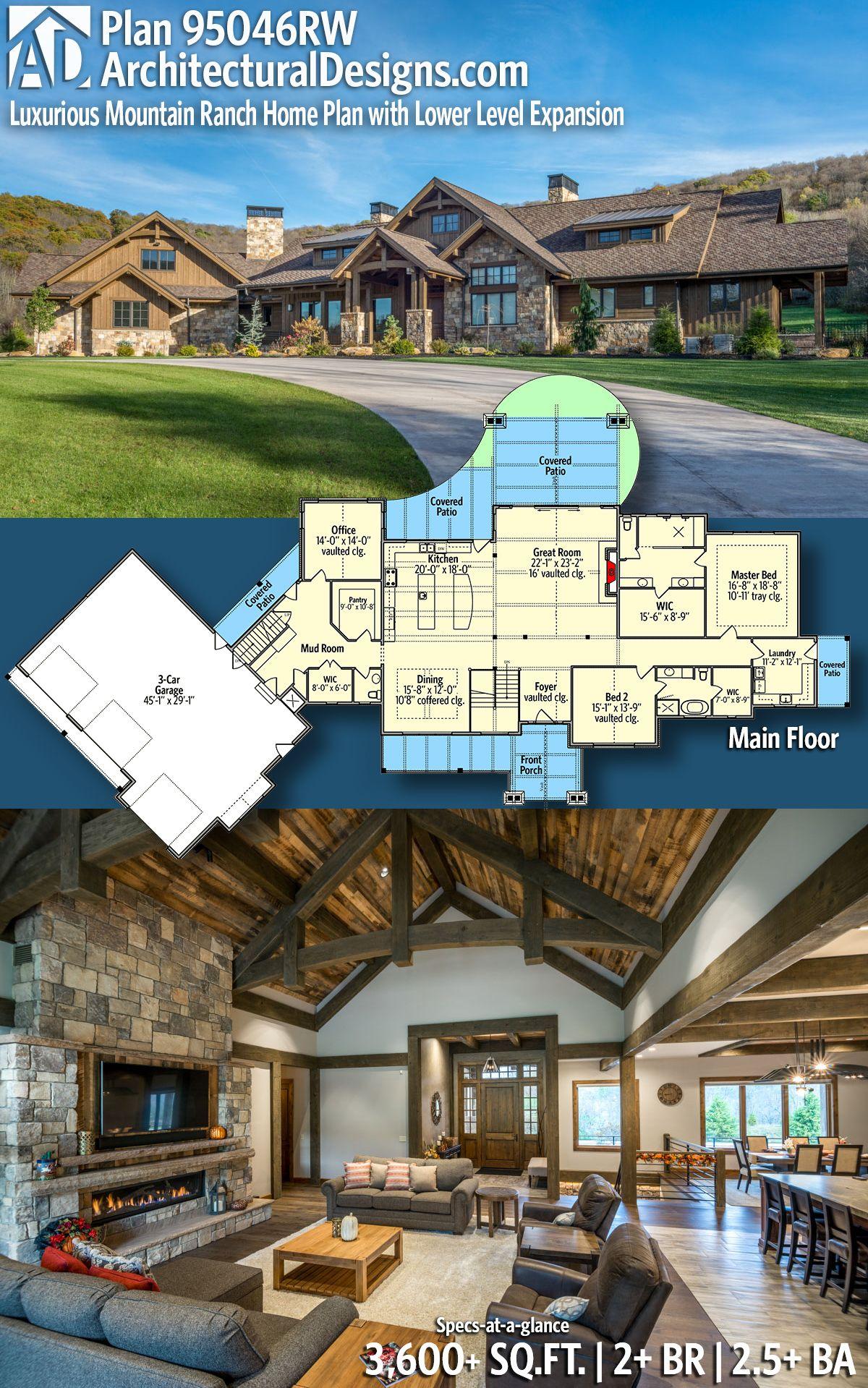 Architectural Designs House Plan 95046RW   2+ Beds   2.5+ Baths   3,600+