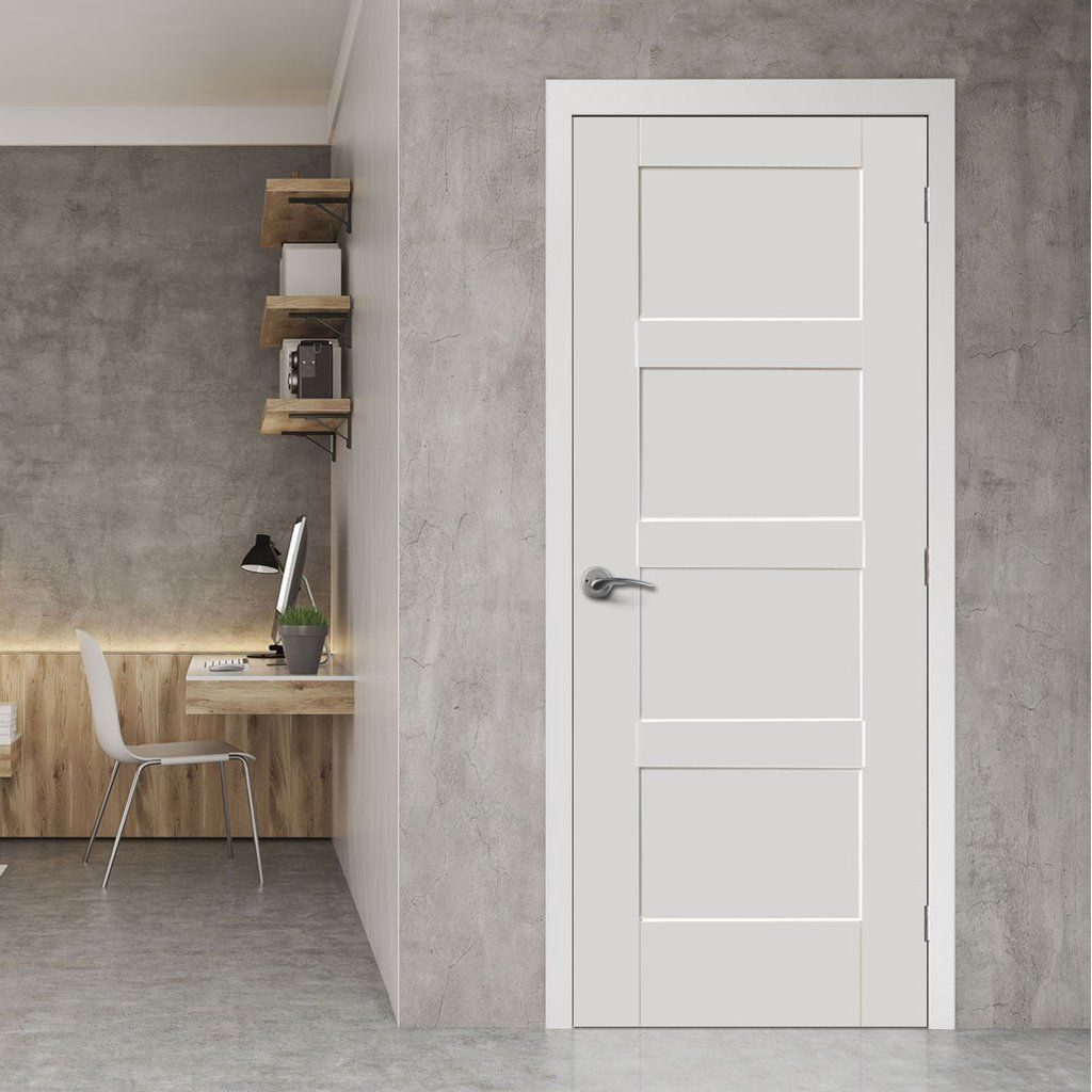 Bespoke Shaker 4 Panel Fire Door 1 2 Hour Fire Rated And White Primed Lifestyle Image Internalfiredoor Grey Internal Doors Internal Doors Doors Interior