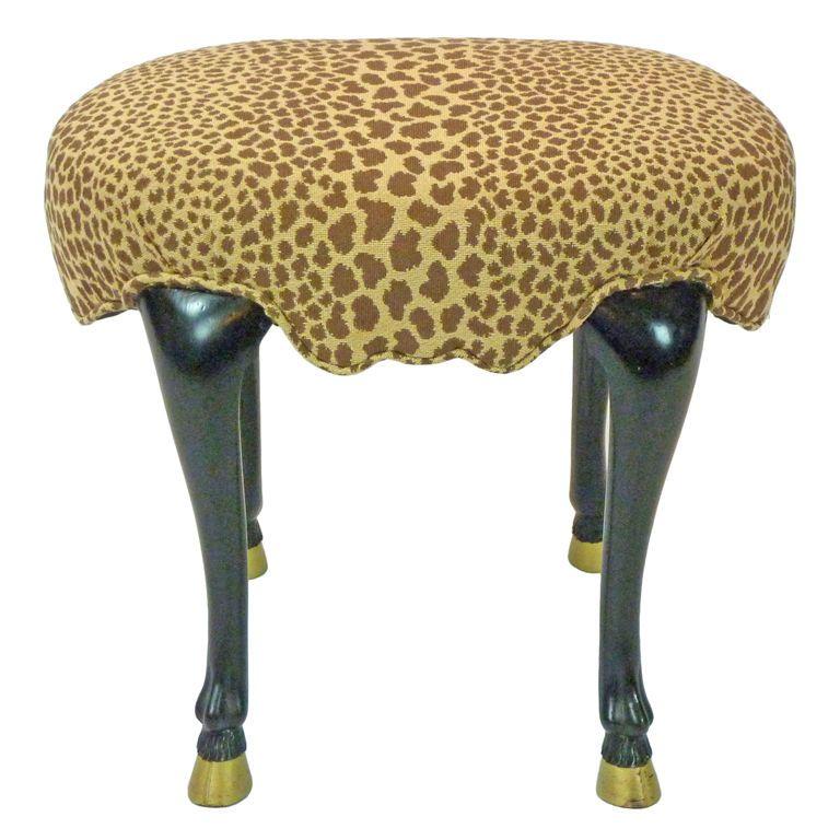 Animal Leg Footstool Footstool Modern Footstool Leopard Print Fabric