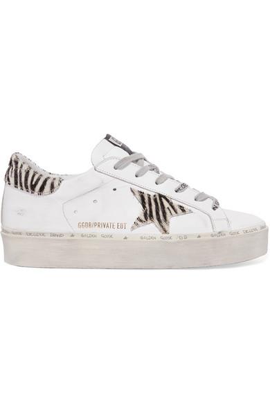 zebra-print calf hair platform sneakers