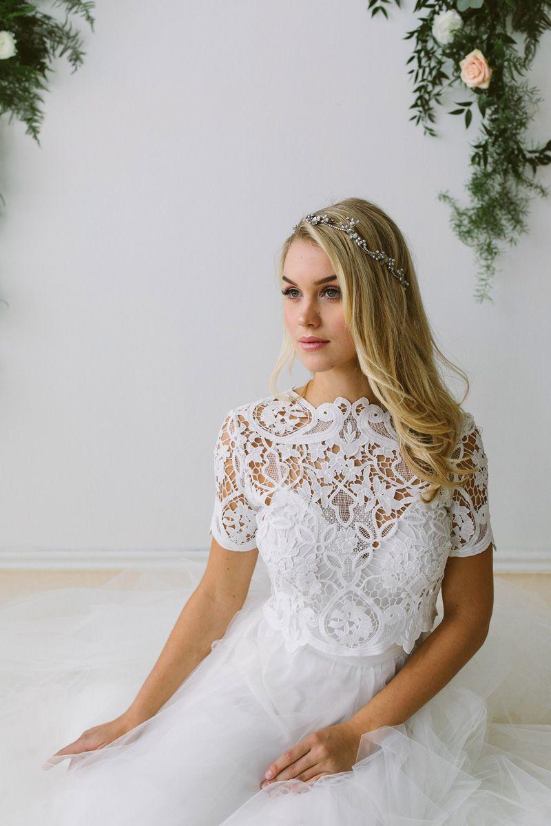 Abigail of Gardenia wedding dress with short sleeves | Wedding ...