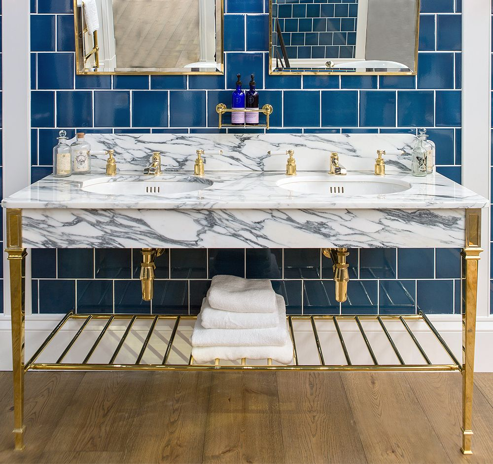 The Double Thames Vanity Basin By Drummonds Features Arabescato Marble Blue Subway Tile Bathroom