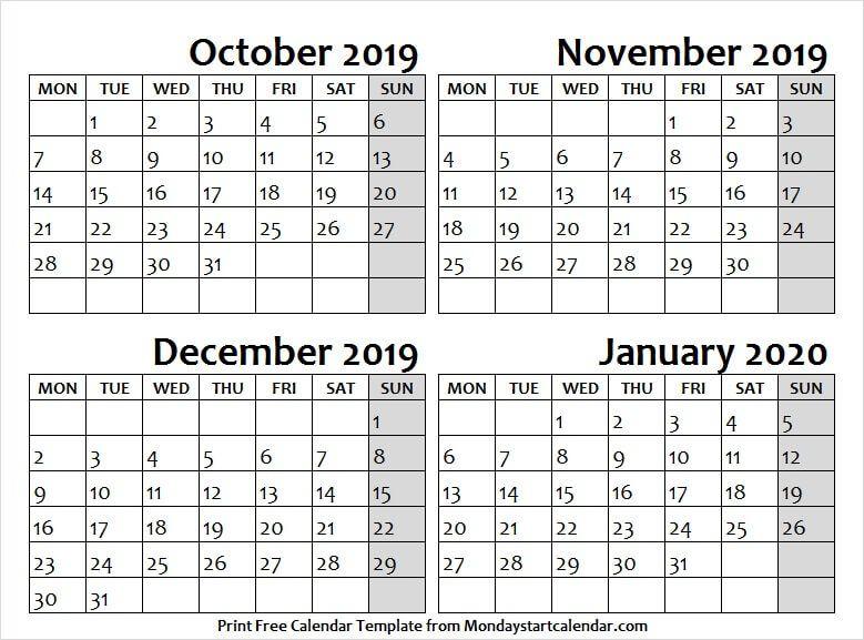 Cute October November December 2019 and January 2020 ...