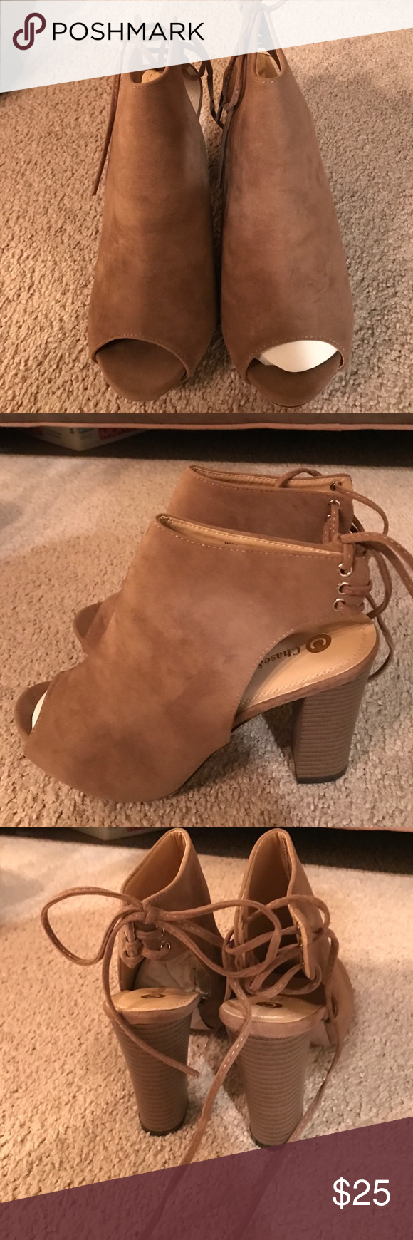 Tan, peep toe booties Tan, peep toe booties Shoes Ankle Boots & Booties