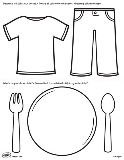 First Pages Clothes And Plate Crayola Com Has Some Great Free