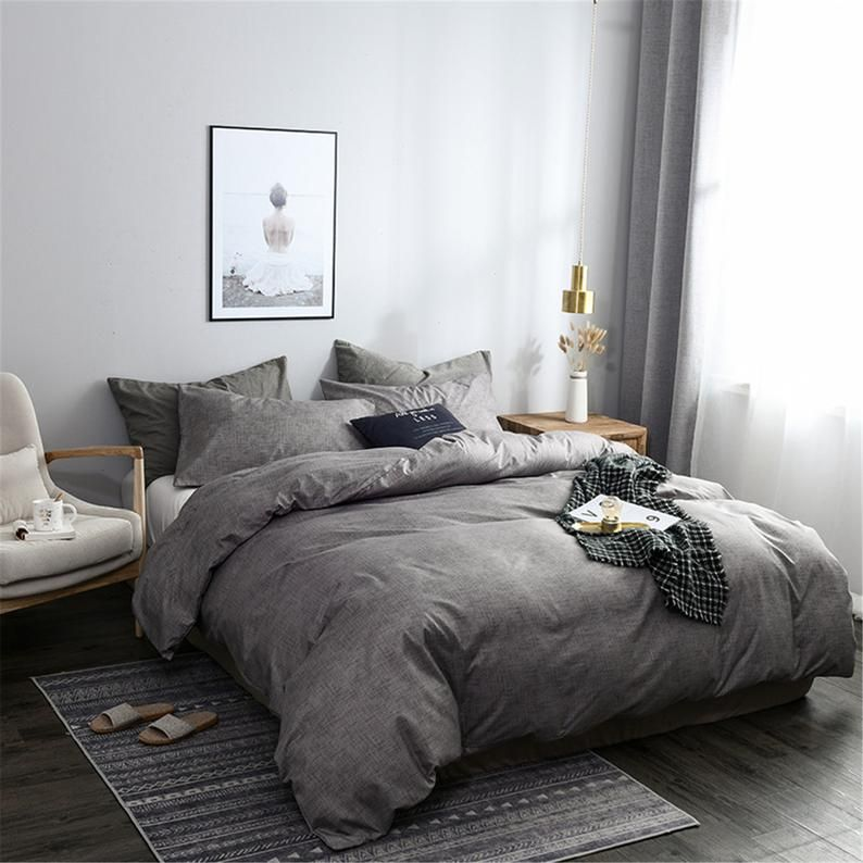 Autumn Winter 3 Piece Comforter Cover Set Gray Duvet Cover Set Warm Winter Bedding Sets Concise Style Quilt Cover Pillowcases Single Double In 2021 Grey Comforter Bedroom Gray Duvet Cover Bed Comforter Sets