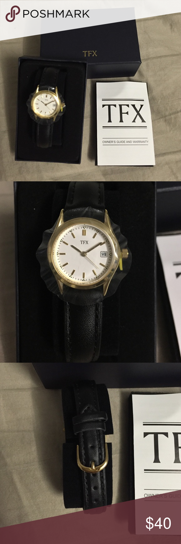 TFX Watch by Bulova - Women TFX Watch By Bulova with black leather strap. Women. Check my closet for matching set. Bulova Accessories Watches