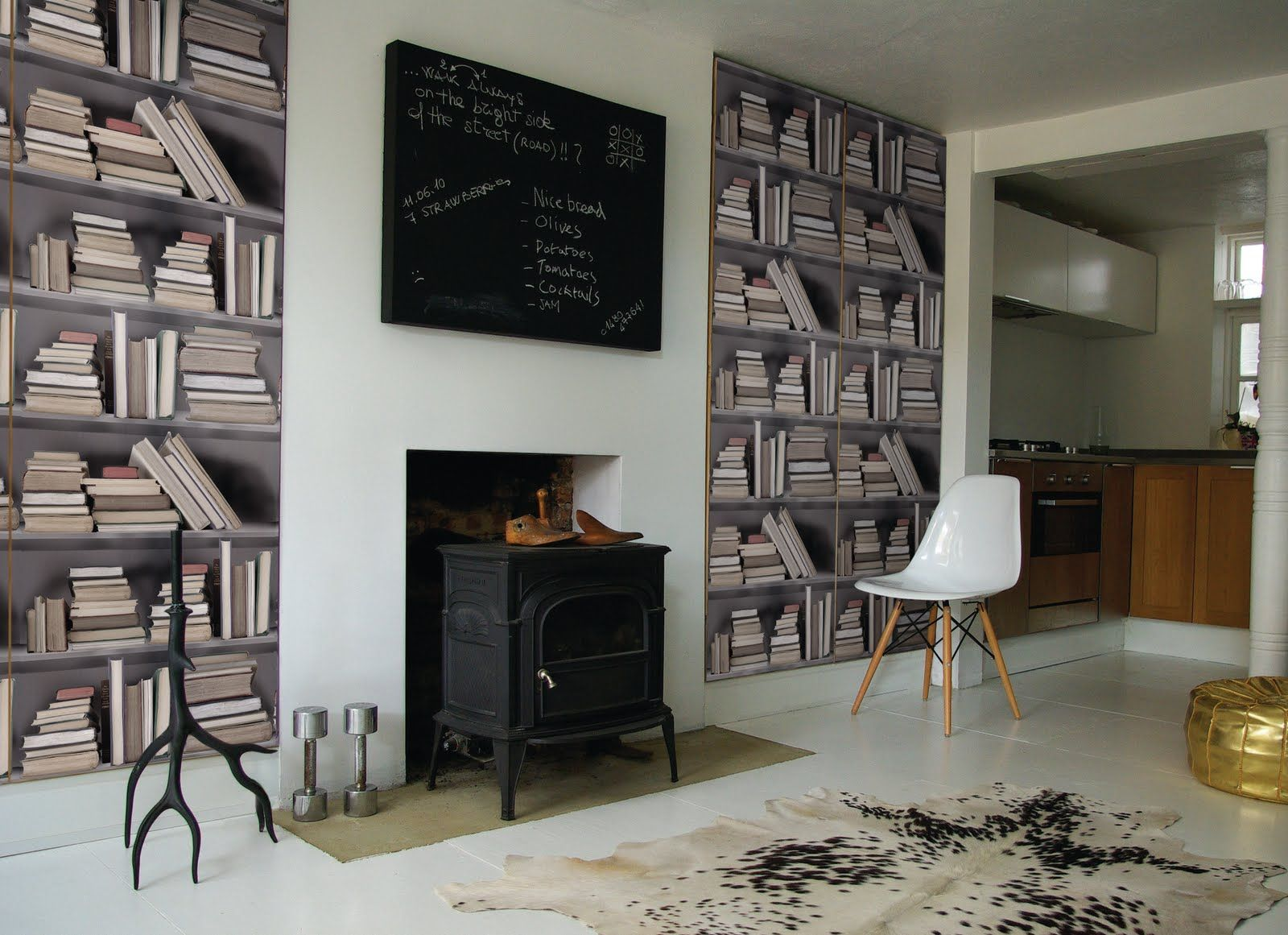 The Vintage Bookshelf wallpaper features shelves of old books to create a  vintage library look. It can be used to create the feeling of a study, ...