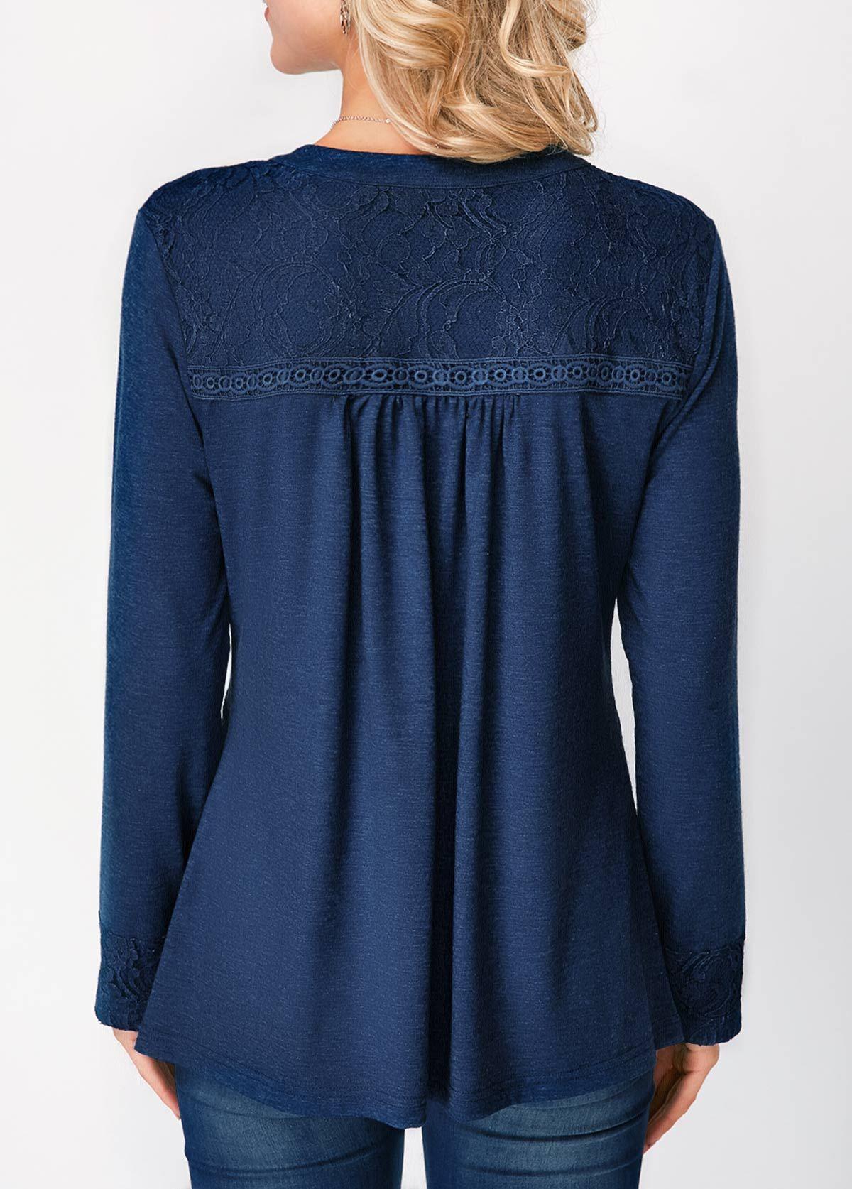 90f47e87b83f76 Button Up Long Sleeve Lace Panel Blouse | Rotita.com - USD $32.19 ...