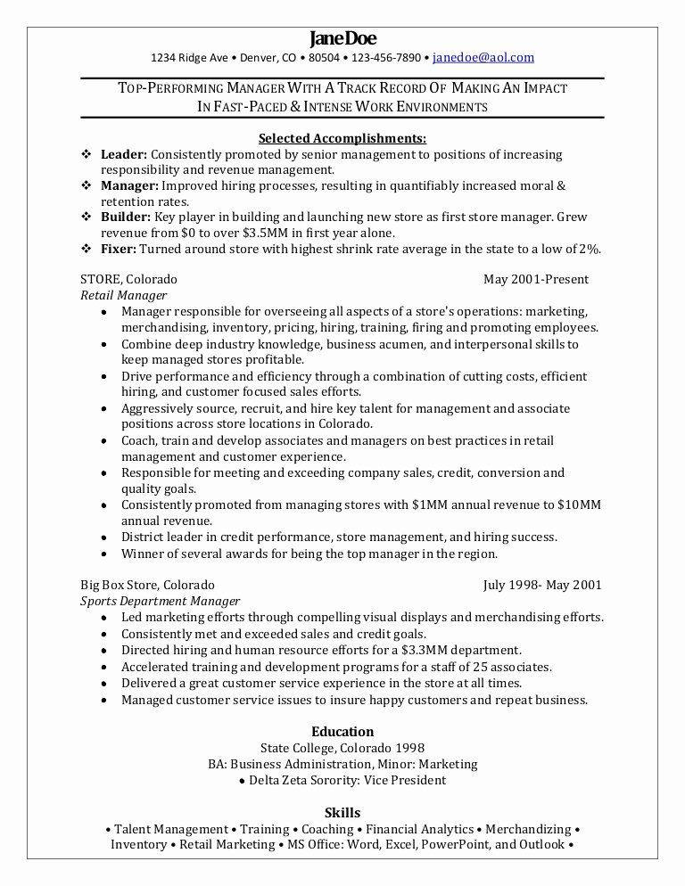 Retail Manager Resume Example Lovely Retail Manager Sample Resume In 2020 Retail Resume Examples Manager Resume Retail Manager