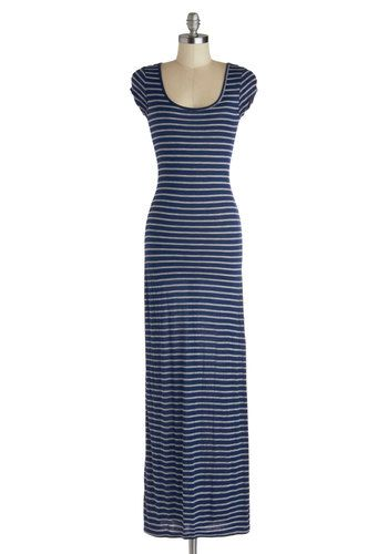 4599e1b43d Maxi Relaxin' Dress - Long, Jersey, Knit, Blue, Grey, Stripes, Casual, Maxi,  Cap Sleeves, Scoop, Good, Nautical, Summer