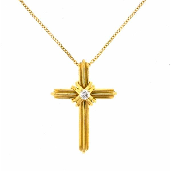 Pre owned tiffany co 18k yellow gold cross diamond pendant 18k yellow gold cross diamond pendant necklace 995 mozeypictures Gallery