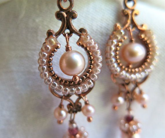 Cultured Pearl Earrings with Seed Beads by marypearlsvintage