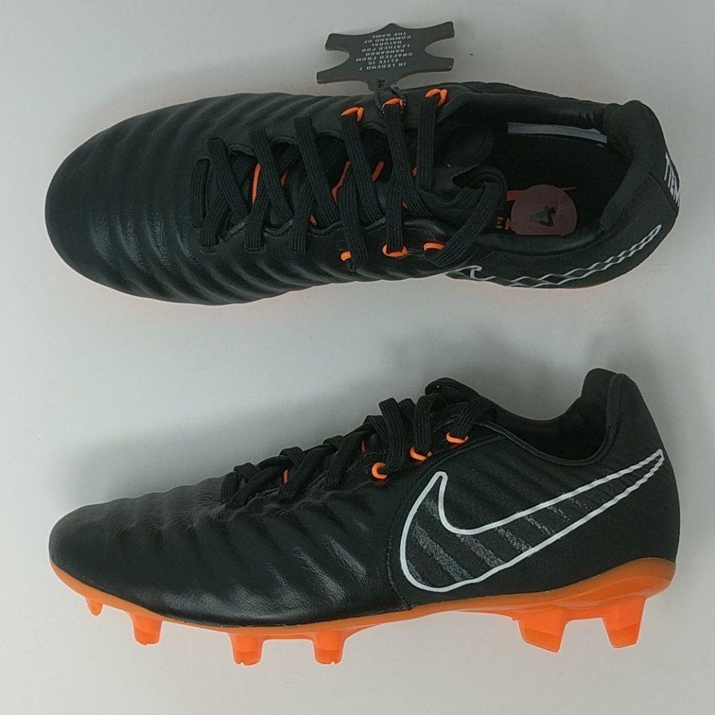 8932ead5ee87 Nike JR Tiempo Legend VII 7 Elite FG Soccer Cleats Black Orange (AH725 –  LoneSole