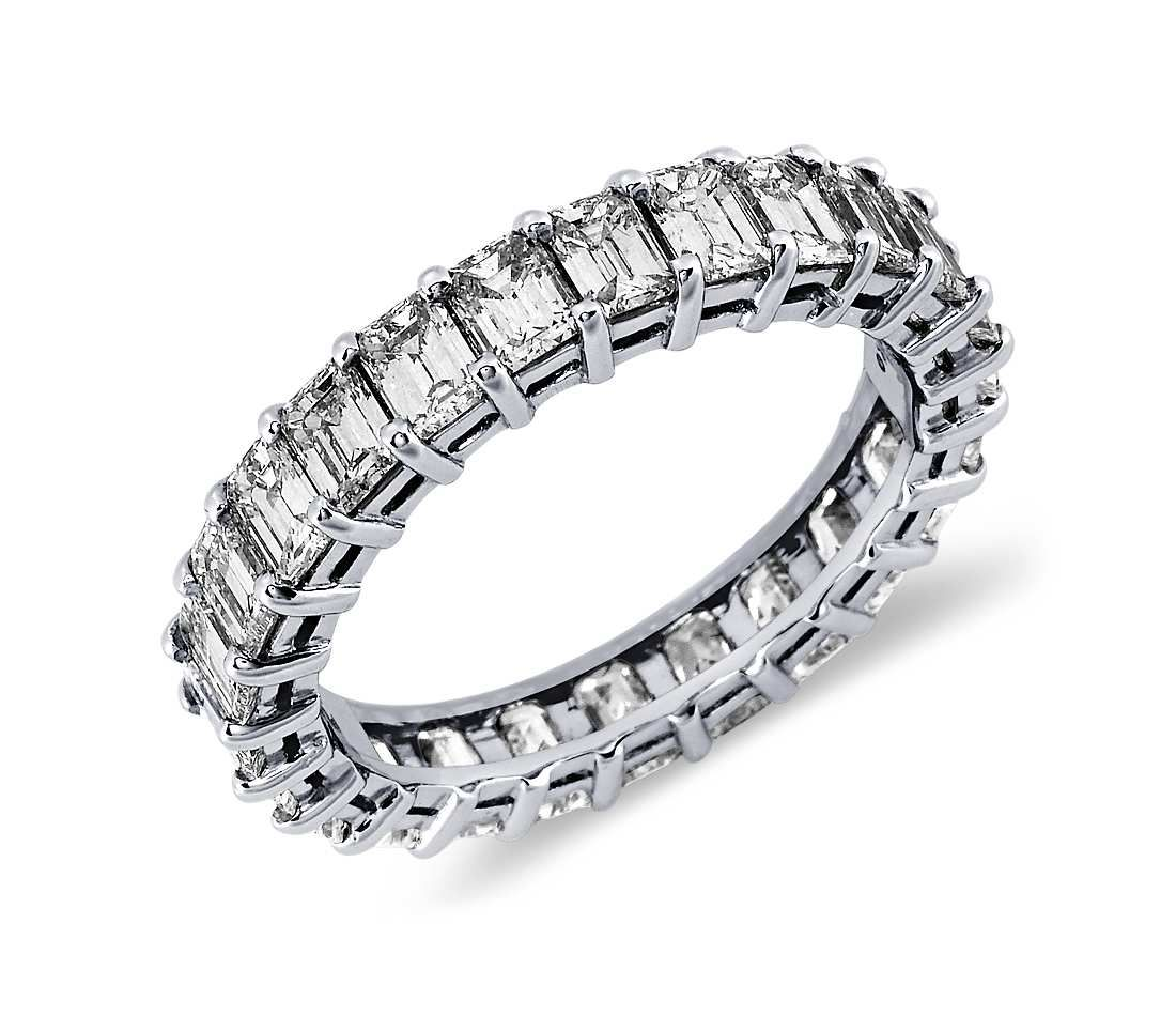 Emerald Cut Diamond Eternity Ring in Platinum 3 ct tw Diamond