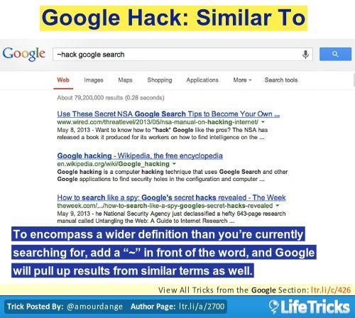 Google Hack: Similar To | Life Hacks | Google tricks, Life hacks, Hacks