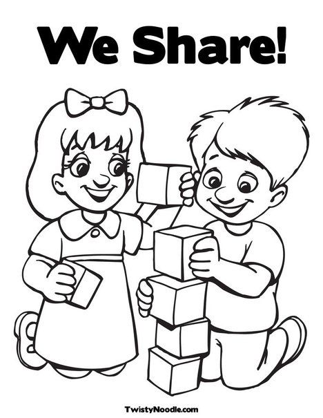 Kids Playing Blocks Coloring Page From TwistyNoodle