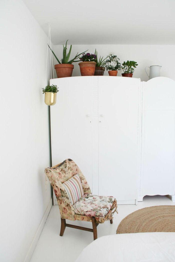 wohnung dekorieren schlafzimmer dekoideen topfplanzen weiße wände