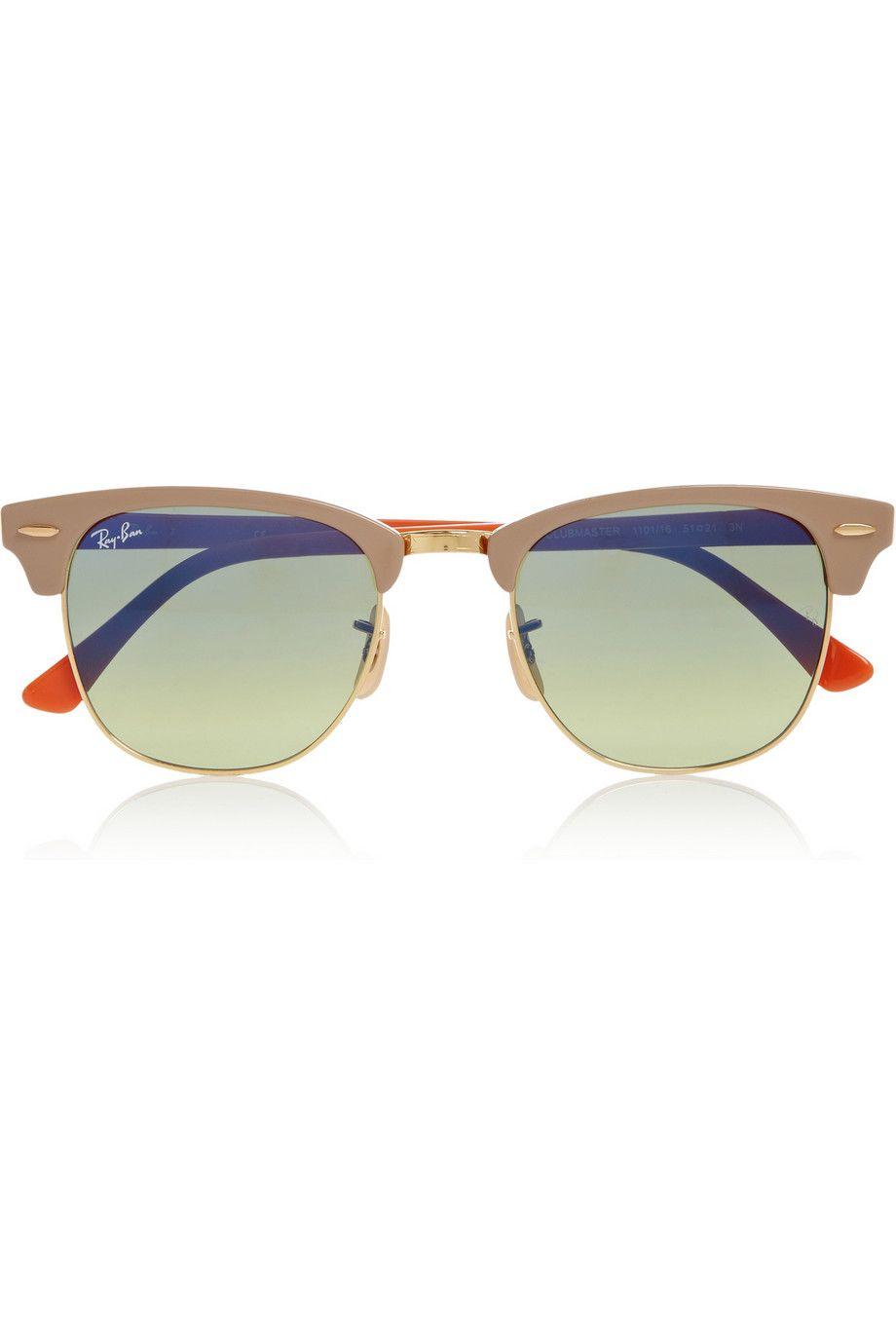 Ray-Ban | Clubmaster half-frame acetate sunglasses | NET-A-PORTER ...