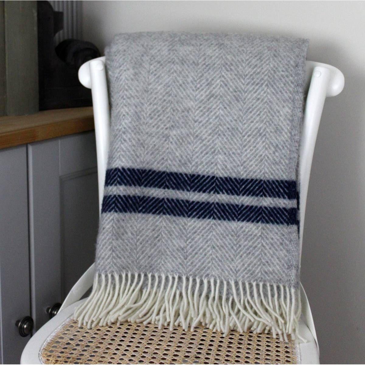Pure New Wool Throw Grey And Navy Blue Herringbone Design 100 Wool Wool Throw Blanket Luxury Blanket Wool Throw