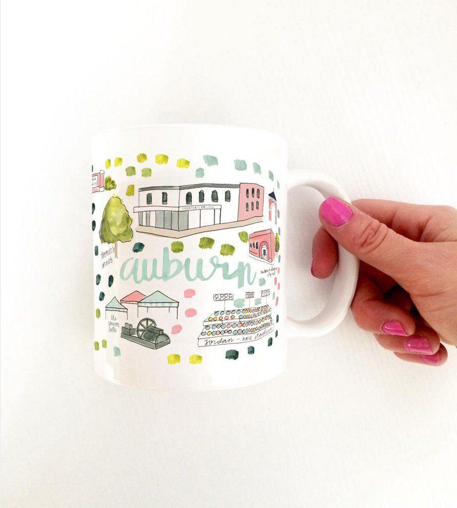 Auburn Al Map Mug Mugs Evelyn Henson Auburn