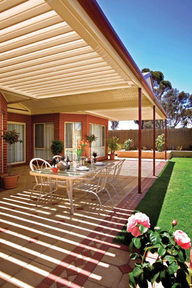 Sunroof stratco outback verandas pergolas patios for Open veranda design