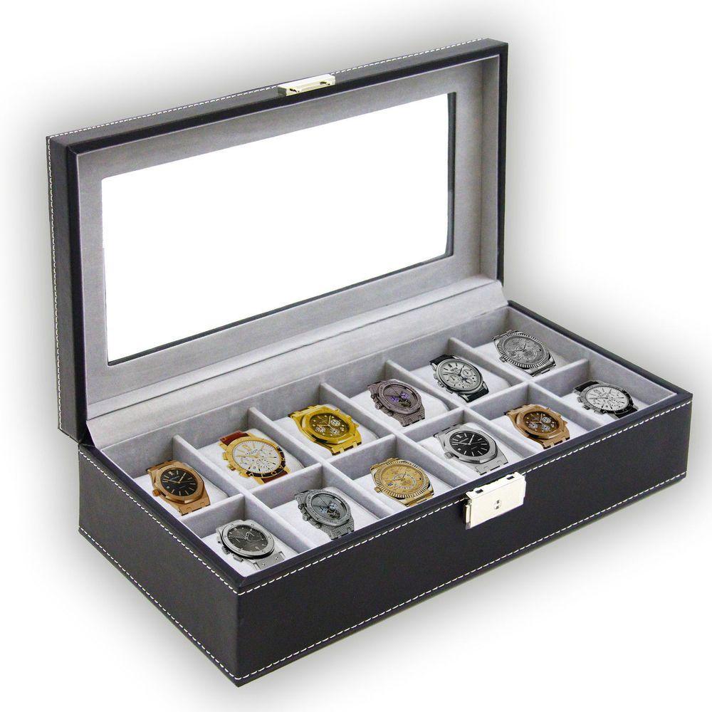 Men's Jewelry Watch Case Box Large Black12 Leather Display Organizer Glass Top  #Crosslinks