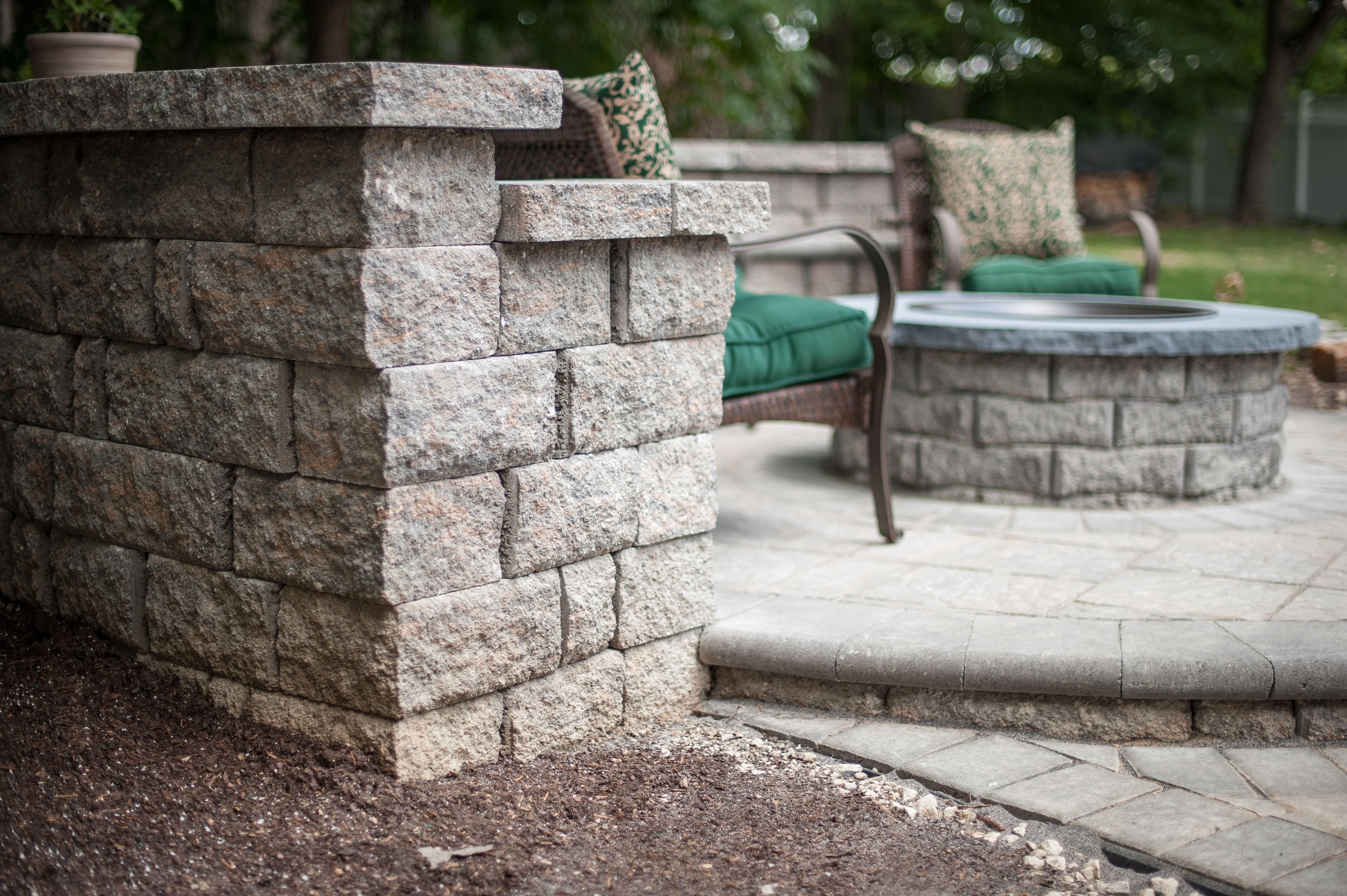 Eagle Bay fire pit kits are easy to match to other pavers so you