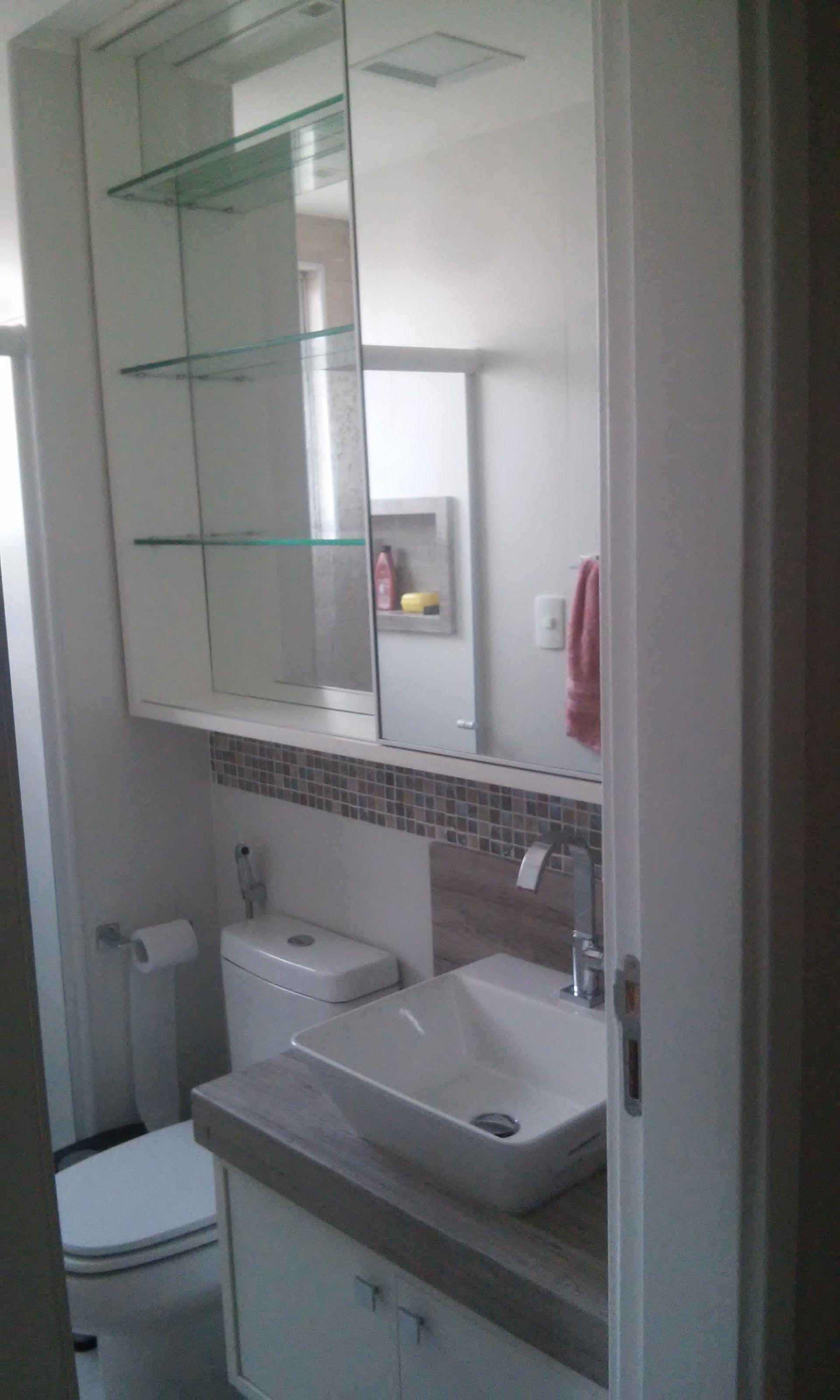 Armario Banheiro Com Porta De Correr Superior Em Espelho Com