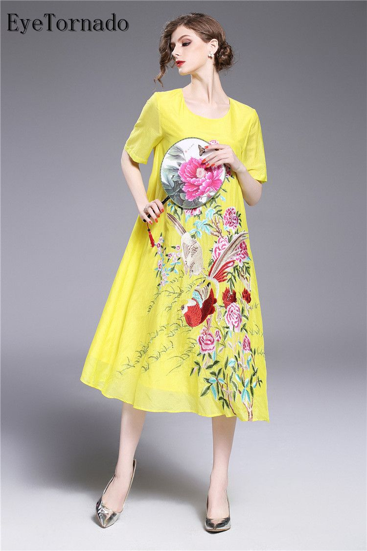 Chinese style women spring summer brand vintage flower