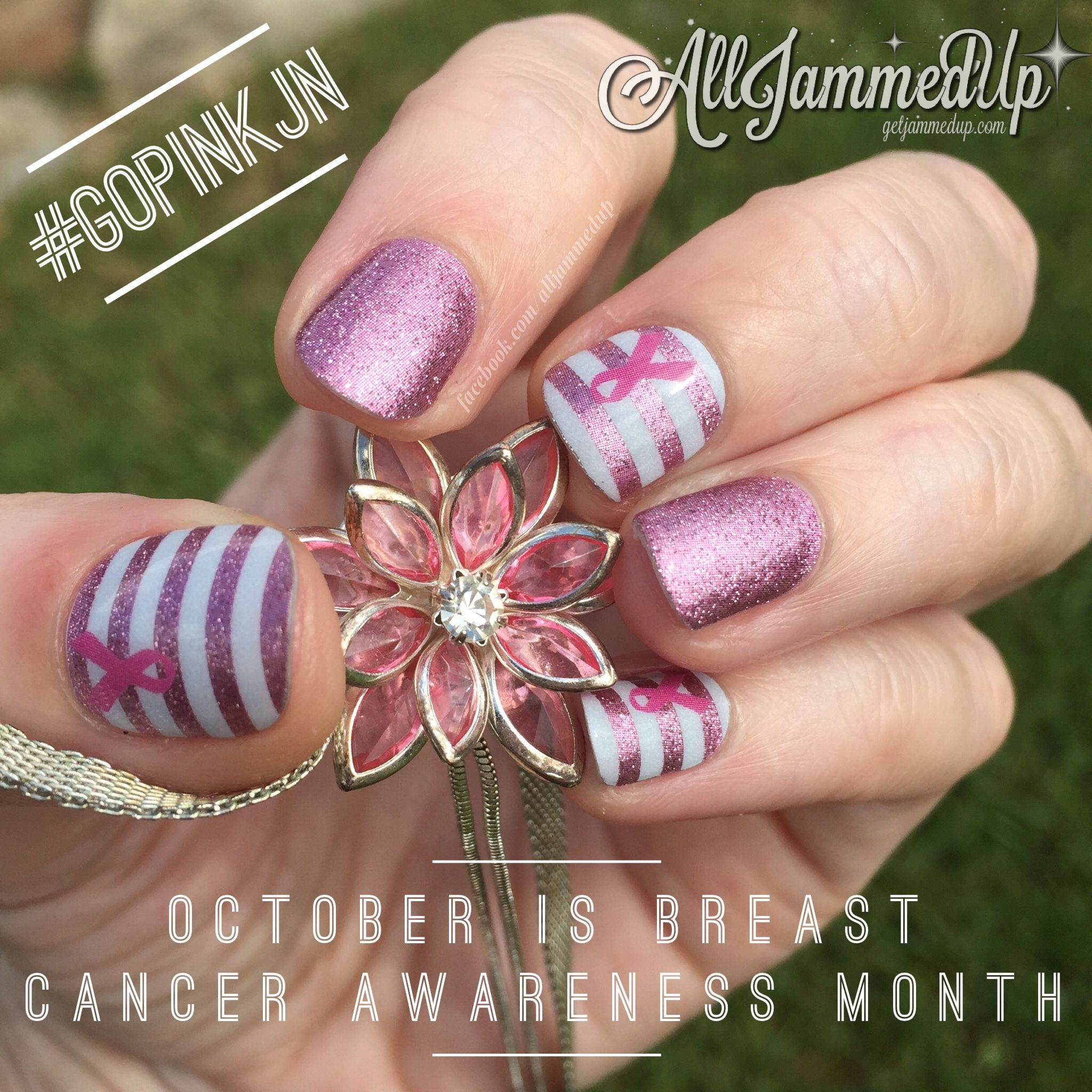 October is Breast Cancer Awareness month. Like me, you probably know someone who has battled it. I'm showing my support! $2 of each purchase of a TellYourStory wrap goes to the American Cancer Society! https://angiebullock.jamberry.com/us/en/shop/shop/for/nail-wraps?collection=collection://1075