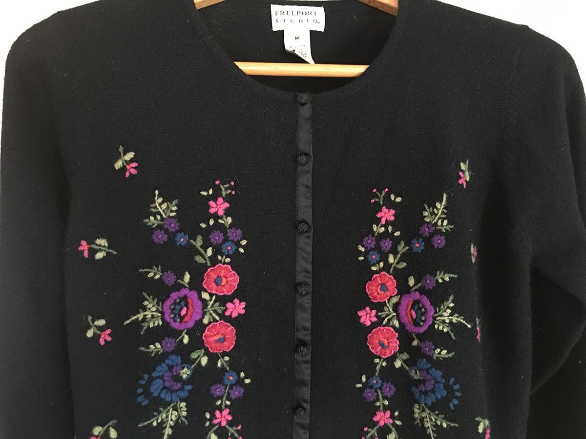 Freeport Studio/LL Bean Black Cardigan Sweater Embroidered Flowers ...