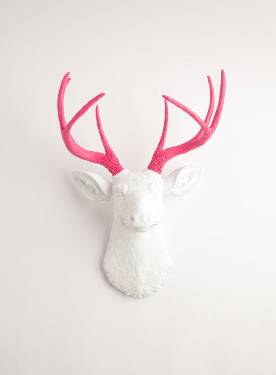Faux Taxidermy Head The Boris White W Pink Antlers Resin Deer Head Mount Stag Resin By Faux Deer Head Wall White Faux Taxidermy Animal Head Wall Hanging