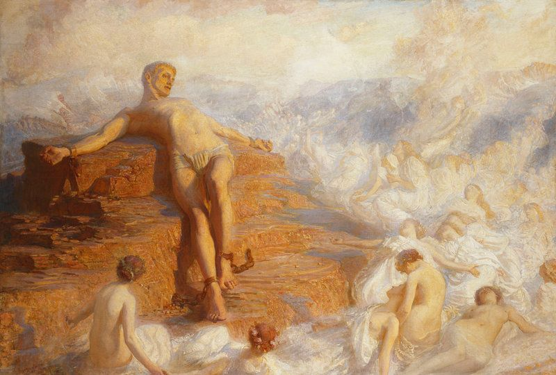 George Spencer Watson - Promethus Concoled 1900 - Approximate Original Size - 56x82 Painting